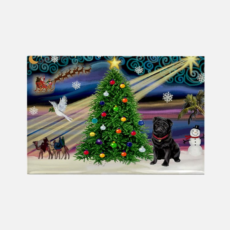 Xmas Magic & Black Pug Rectangle Magnet