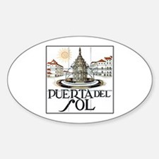 Puerta del Sol, Madrid - Spain Oval Decal