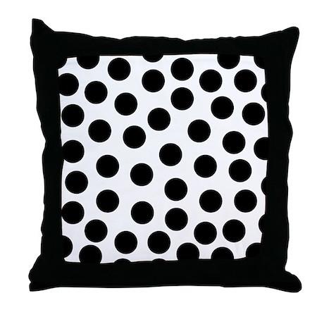 Big Black Polka Dots Throw Pillow