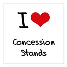 """I love Concession Stands Square Car Magnet 3"""" x 3"""""""
