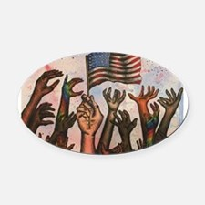 With Liberty and Justice for All Oval Car Magnet