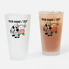 Custom Cartoon Cow Drinking Glass