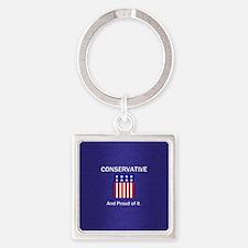 Conservative Slogan Square Keychain