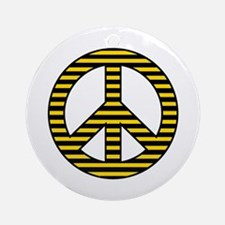 Yellow Stripes Peace Sign Ornament (Round)