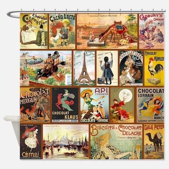 Vintage Chocolate Advertisements Shower Curtain