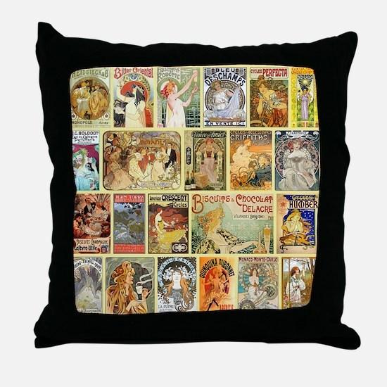Art Nouveau Advertisements Collage Throw Pillow