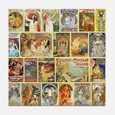 Art Nouveau Advertisements Collage Tile Coaster