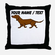 Custom Brown Daschund Throw Pillow