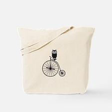 owl on old vintage bicycle Tote Bag