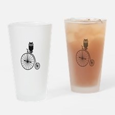 owl on old vintage bicycle Drinking Glass