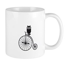 owl on old vintage bicycle Small Mug