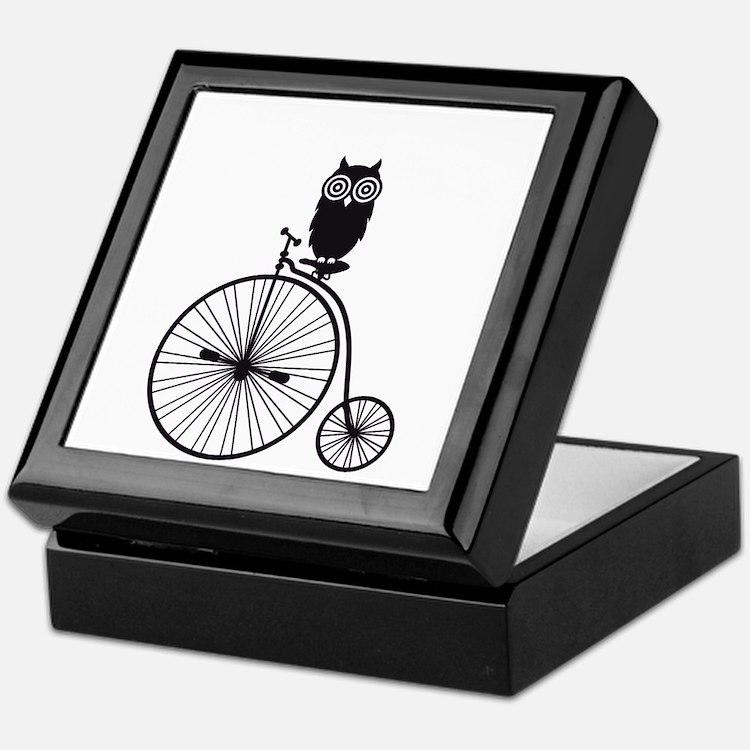 owl on old vintage bicycle Keepsake Box