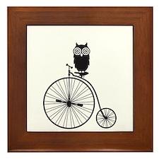 owl on old vintage bicycle Framed Tile