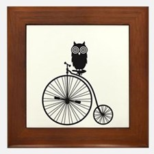 owl on old vintage bicycle Framed Tile