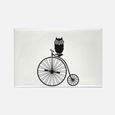 owl on old vintage bicycle Rectangle Magnet