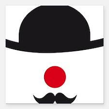hat, red nose and mustache, clown face design Squa