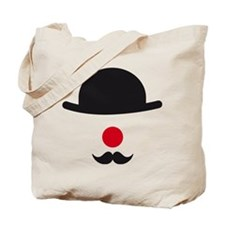 hat, red nose and mustache, clown face design Tote