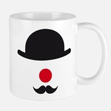 hat, red nose and mustache, clown face design Mug