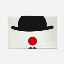 hat, red nose and mustache, clown face design Rect