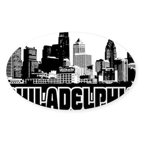 Philadelphia Skyline Sticker (Oval)