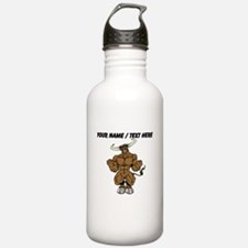 Custom Brown Bull Mascot Water Bottle
