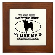 Norwegian Elkhound lover designs Framed Tile