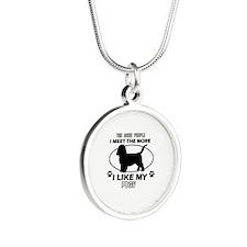 PBGV lover designs Silver Round Necklace