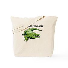 Custom Green Alligator Cartoon Tote Bag