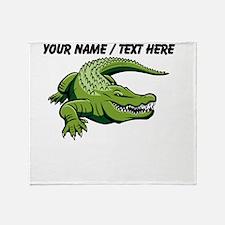 Custom Green Alligator Cartoon Throw Blanket