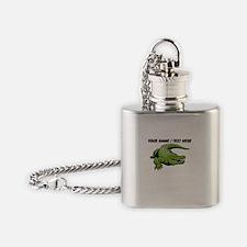 Custom Green Alligator Cartoon Flask Necklace