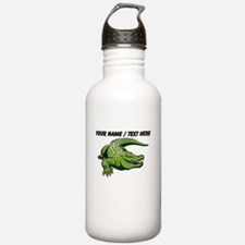Custom Green Alligator Cartoon Water Bottle