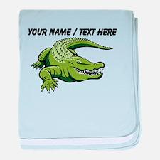 Custom Green Alligator Cartoon baby blanket