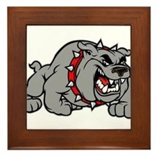 grey bulldog Framed Tile