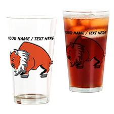 Custom Orange Buffalo Drinking Glass