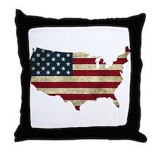 Vintage USA Throw Pillow