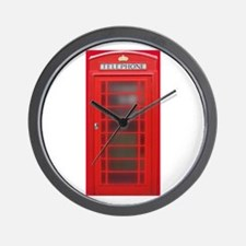 British Phone Booth Wall Clock
