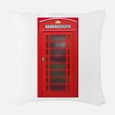 British Phone Booth Woven Throw Pillow