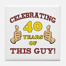 40th Birthday Gift For Him Tile Coaster