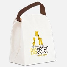 Custom Giraffe Big Sister-to-Be Canvas Lunch Bag