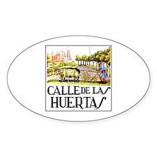 Calle Huertas, Madrid - Spain Oval Decal