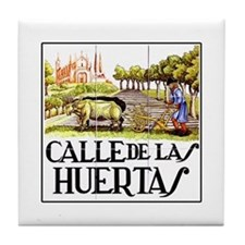 Calle Huertas, Madrid - Spain Tile Coaster