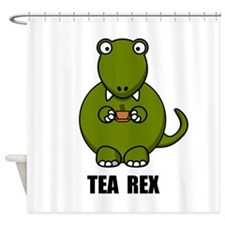Tea Rex Dinosaur Shower Curtain