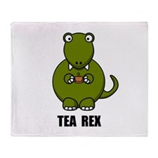 Tea Rex Dinosaur Throw Blanket