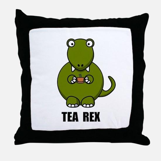 Tea Rex Dinosaur Throw Pillow
