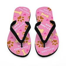 Silky-Lhasa Mom Gift Flip Flops