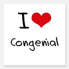 "I love Congenial Square Car Magnet 3"" x 3"""