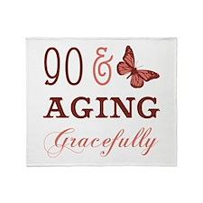 90 & Aging Gracefully Throw Blanket
