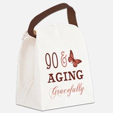 90 & Aging Gracefully Canvas Lunch Bag