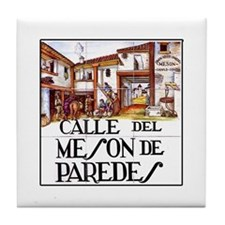 Calle Mesón de Paredes, Madrid Tile Coaster
