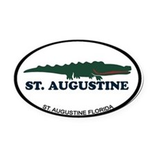 St. Augustine - Alligator Design. Oval Car Magnet